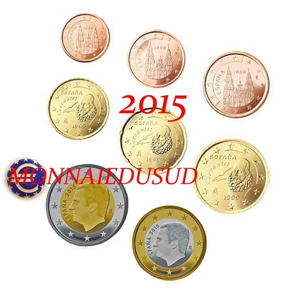 S rie 1 cent 2 euro espagne 2015 s rie unc ebay for Wohnwand 70 euro